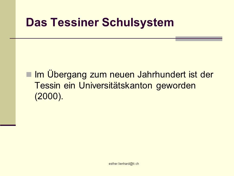 esther.lienhard@ti.ch Das Tessiner Schulsystem Im Übergang zum neuen Jahrhundert ist der Tessin ein Universitätskanton geworden (2000).
