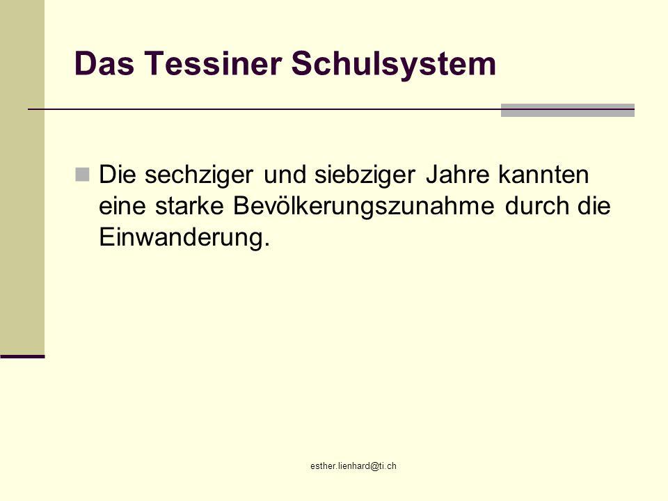 esther.lienhard@ti.ch Das Tessiner Schulsystem Die sechziger und siebziger Jahre kannten eine starke Bevölkerungszunahme durch die Einwanderung.