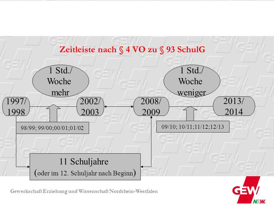 Gewerkschaft Erziehung und Wissenschaft Nordrhein-Westfalen Zeitleiste – Beispiel - flexibel: 1997/ 1998 2002/ 2003 98/99; 99/00; 00/01; 01/02 2010/ 2011 2012/ 13 3 Std.