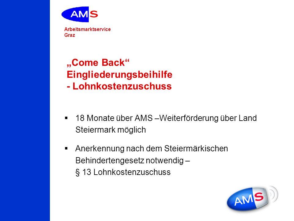 Arbeitsmarktservice Graz Come Back Eingliederungsbeihilfe - Lohnkostenzuschuss 18 Monate über AMS –Weiterförderung über Land Steiermark möglich Anerke