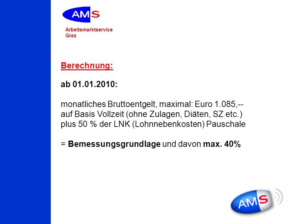 Arbeitsmarktservice Graz Berechnung: ab 01.01.2010: monatliches Bruttoentgelt, maximal: Euro 1.085,-- auf Basis Vollzeit (ohne Zulagen, Diäten, SZ etc
