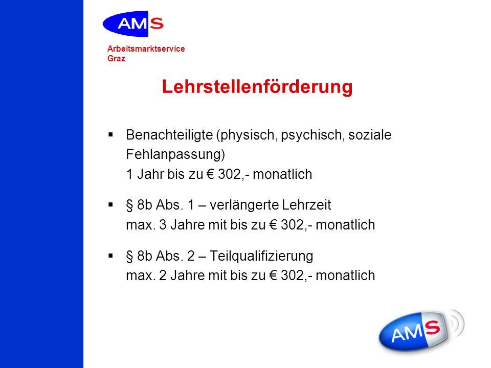 Arbeitsmarktservice Graz Lehrstellenförderung Benachteiligte (physisch, psychisch, soziale Fehlanpassung) 1 Jahr bis zu 302,- monatlich § 8b Abs. 1 –
