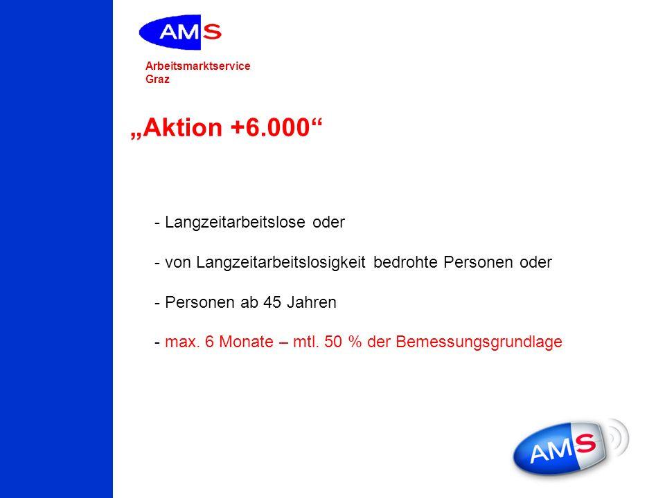 Arbeitsmarktservice Graz Aktion +6.000 - Langzeitarbeitslose oder - von Langzeitarbeitslosigkeit bedrohte Personen oder - Personen ab 45 Jahren - max.