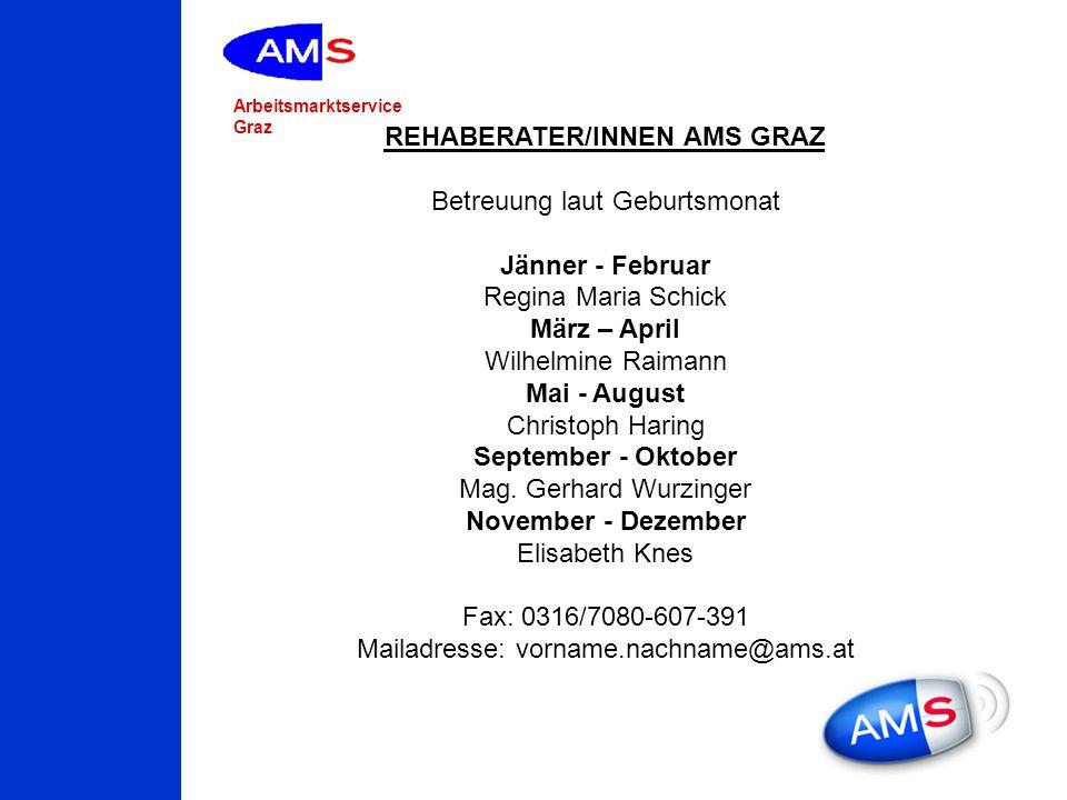 Arbeitsmarktservice Graz REHABERATER/INNEN AMS GRAZ Betreuung laut Geburtsmonat Jänner - Februar Regina Maria Schick März – April Wilhelmine Raimann M