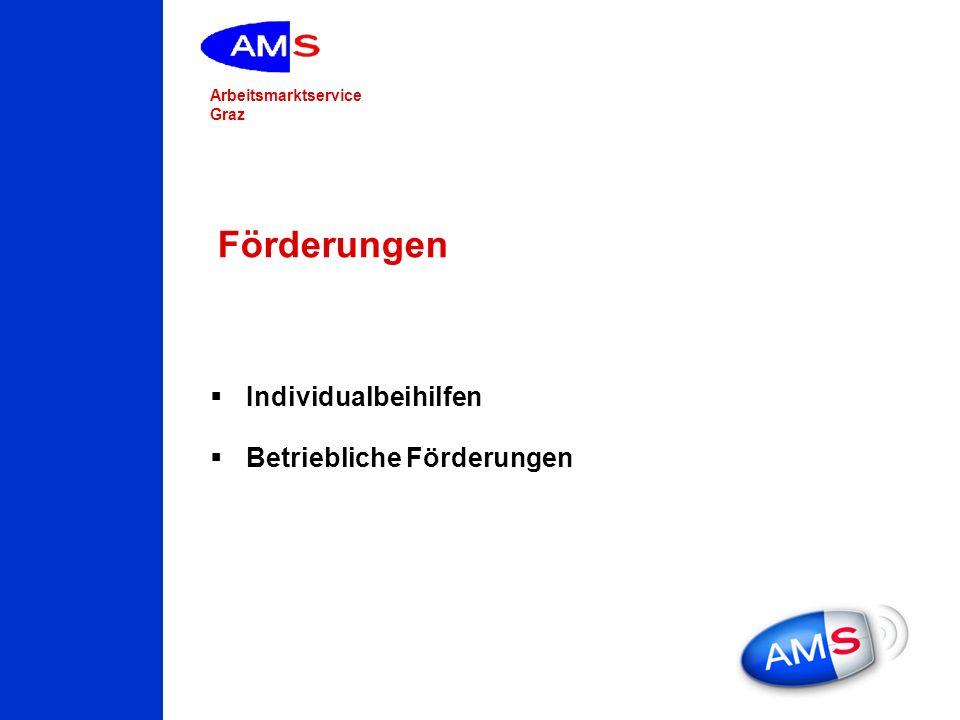 Arbeitsmarktservice Graz Förderungen Individualbeihilfen Betriebliche Förderungen