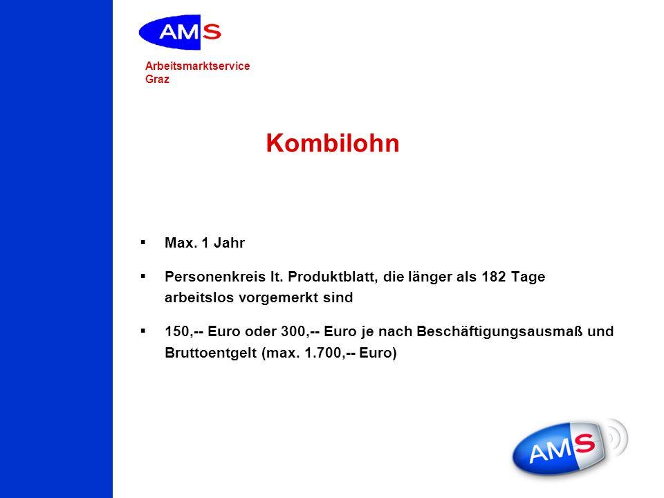 Arbeitsmarktservice Graz Kombilohn Max. 1 Jahr Personenkreis lt. Produktblatt, die länger als 182 Tage arbeitslos vorgemerkt sind 150,-- Euro oder 300