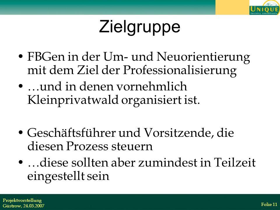 Projektvorstellung Güstrow, 24.03.2007 Folie 11 Zielgruppe FBGen in der Um- und Neuorientierung mit dem Ziel der Professionalisierung …und in denen vornehmlich Kleinprivatwald organisiert ist.