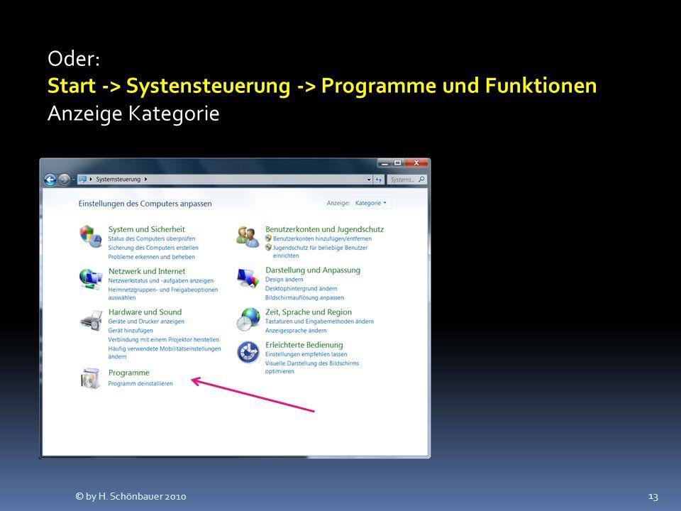 Oder: Start -> Systensteuerung -> Programme und Funktionen Anzeige Kategorie 13 © by H. Schönbauer 2010