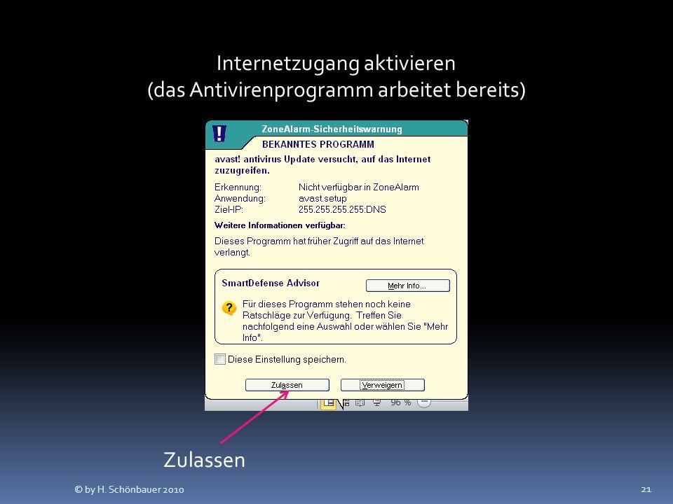 21 Internetzugang aktivieren (das Antivirenprogramm arbeitet bereits) Zulassen © by H. Schönbauer 2010
