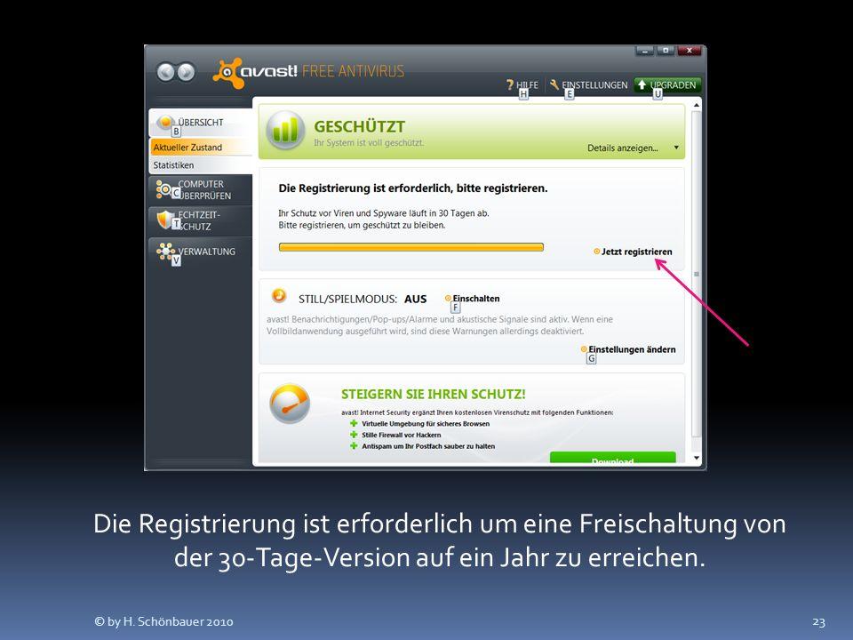 23 Die Registrierung ist erforderlich um eine Freischaltung von der 30-Tage-Version auf ein Jahr zu erreichen. © by H. Schönbauer 2010