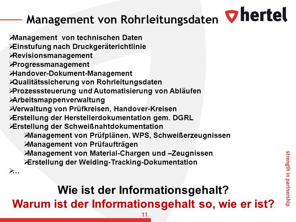 Management von Rohrleitungsdaten Management von technischen Daten Einstufung nach Druckgeräterichtlinie Revisionsmanagement Progressmanagement Handove