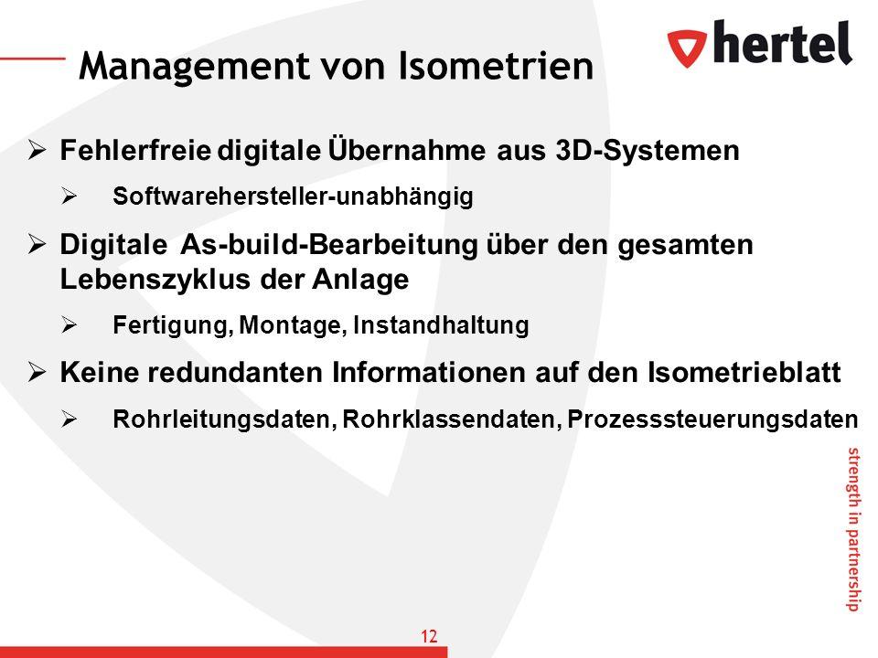 Management von Isometrien Fehlerfreie digitale Übernahme aus 3D-Systemen Softwarehersteller-unabhängig Digitale As-build-Bearbeitung über den gesamten
