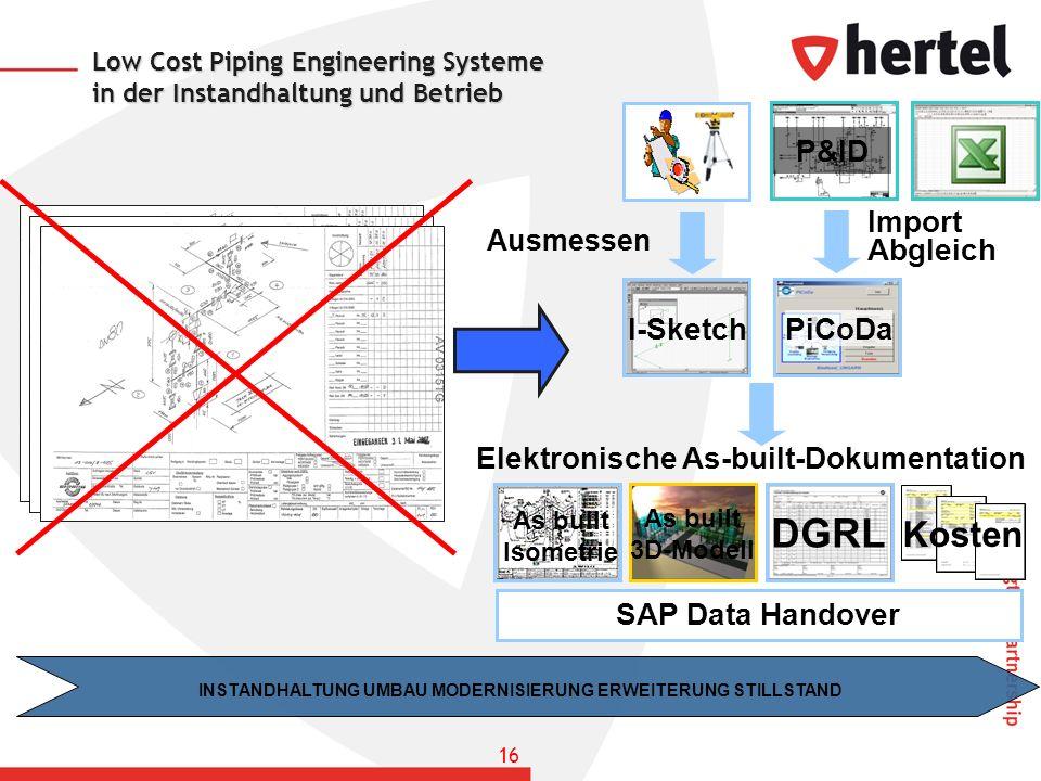 Low Cost Piping Engineering Systeme in der Instandhaltung und Betrieb Kosten INSTANDHALTUNG UMBAU MODERNISIERUNG ERWEITERUNG STILLSTAND I-Sketch Elekt