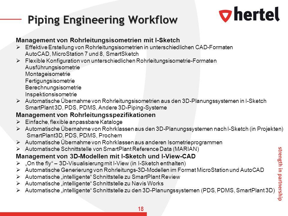 Piping Engineering Workflow Management von Rohrleitungsisometrien mit I-Sketch Effektive Erstellung von Rohrleitungsisometrien in unterschiedlichen CA