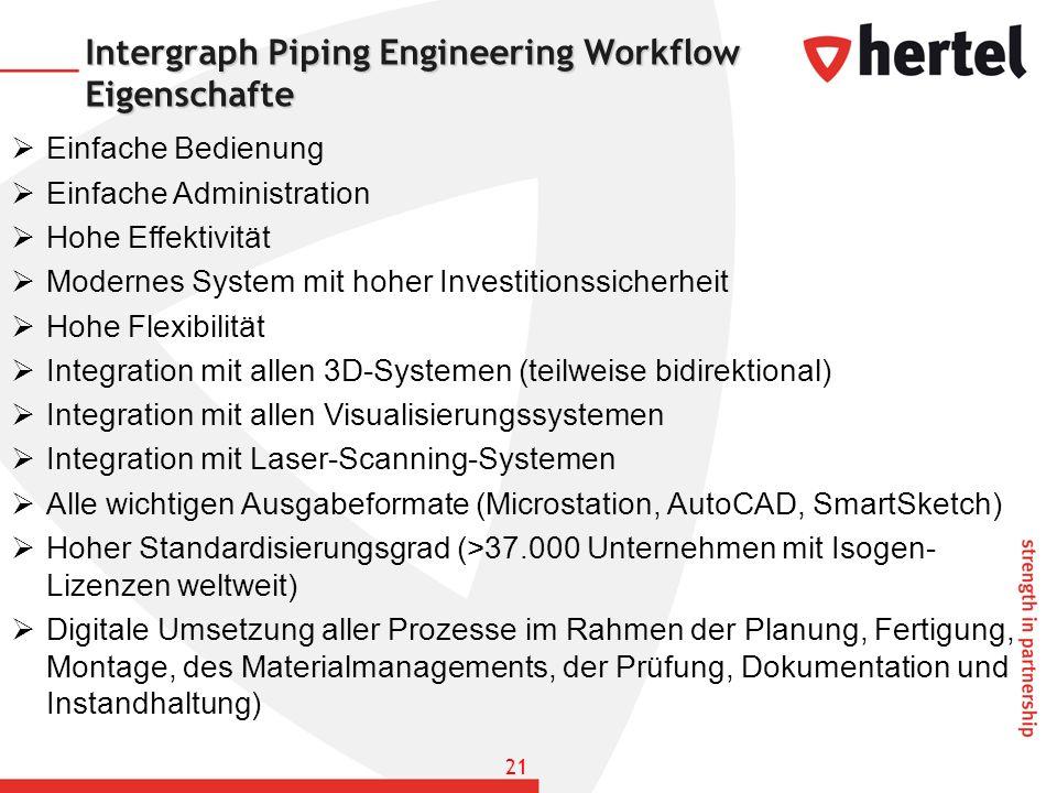 Intergraph Piping Engineering Workflow Eigenschafte Einfache Bedienung Einfache Administration Hohe Effektivität Modernes System mit hoher Investition