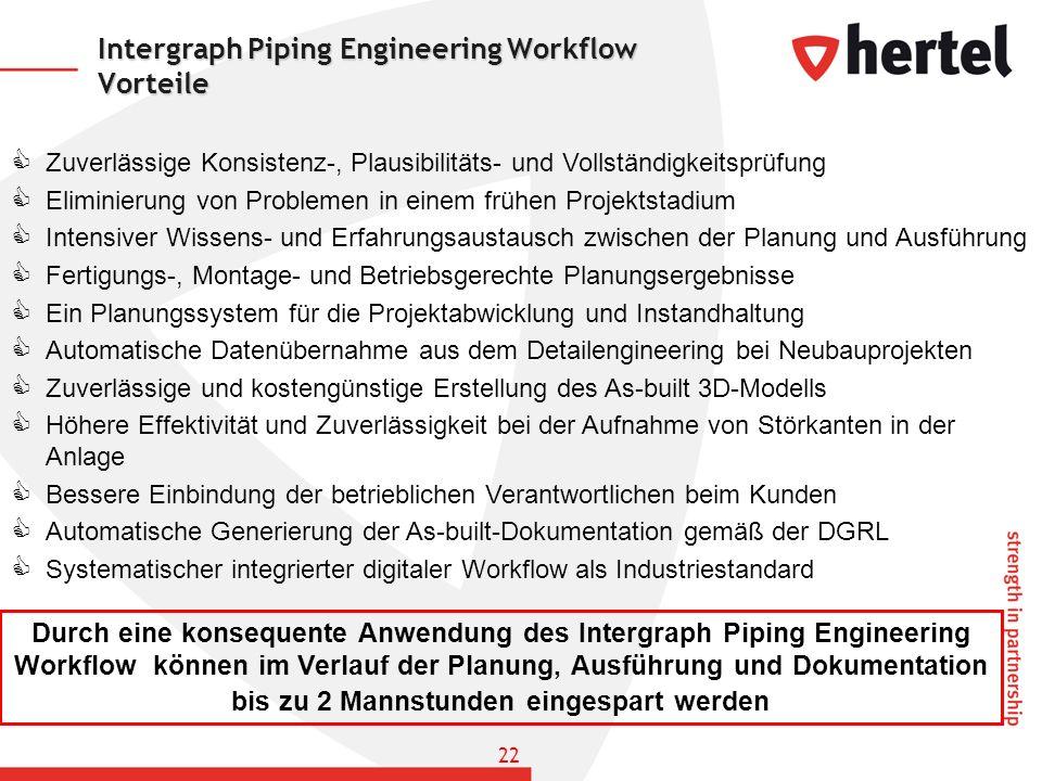 Intergraph Piping Engineering Workflow Vorteile Zuverlässige Konsistenz-, Plausibilitäts- und Vollständigkeitsprüfung Eliminierung von Problemen in ei