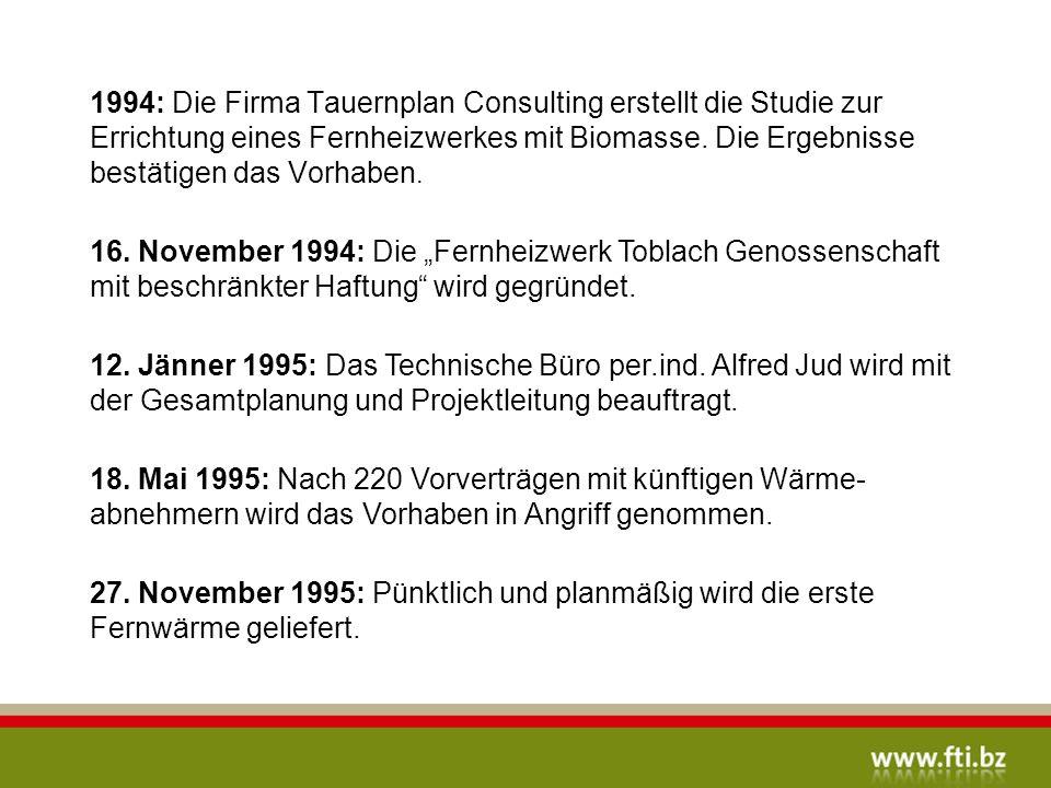 1994: Die Firma Tauernplan Consulting erstellt die Studie zur Errichtung eines Fernheizwerkes mit Biomasse.