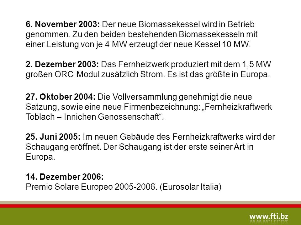 6.November 2003: Der neue Biomassekessel wird in Betrieb genommen.