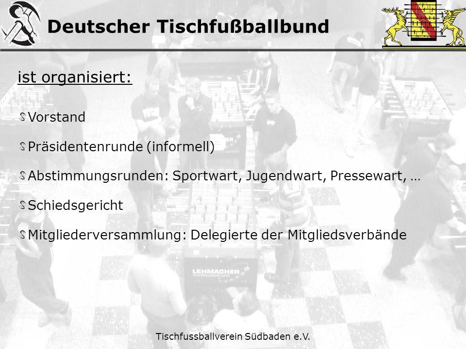 Deutscher Tischfußballbund Tischfussballverein Südbaden e.V. ist organisiert: Vorstand Präsidentenrunde (informell) Abstimmungsrunden: Sportwart, Juge