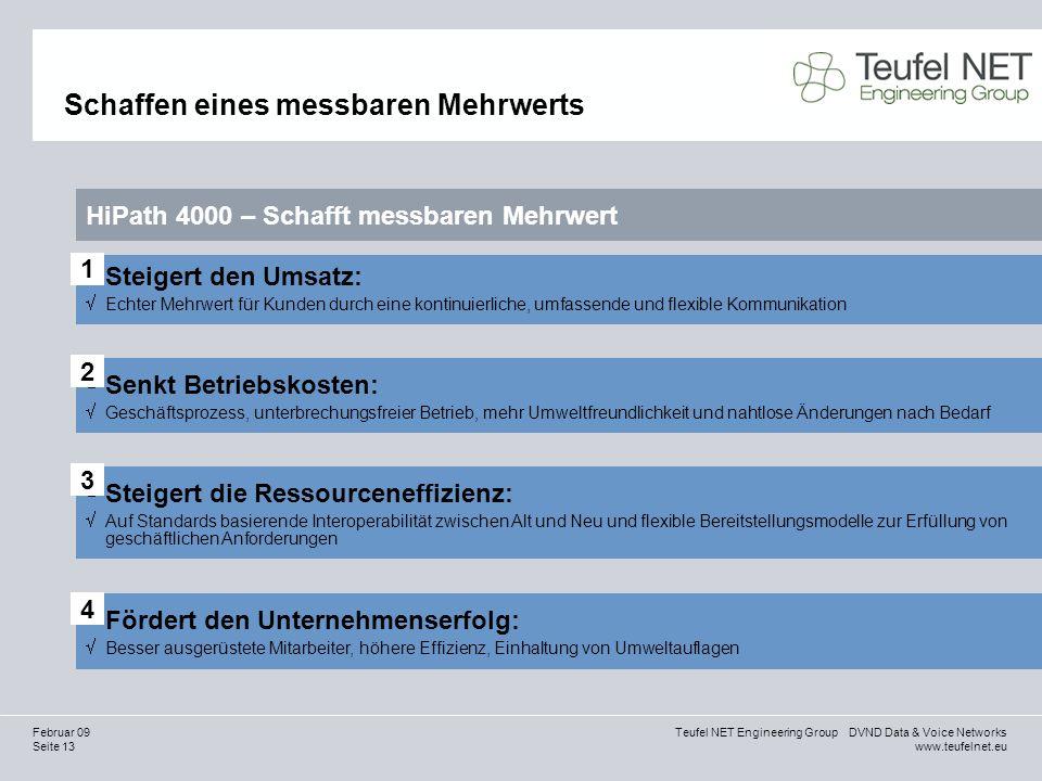 Seite 13 Teufel NET Engineering Group DVND Data & Voice Networks www.teufelnet.eu Februar 09 Schaffen eines messbaren Mehrwerts HiPath 4000 – Schafft