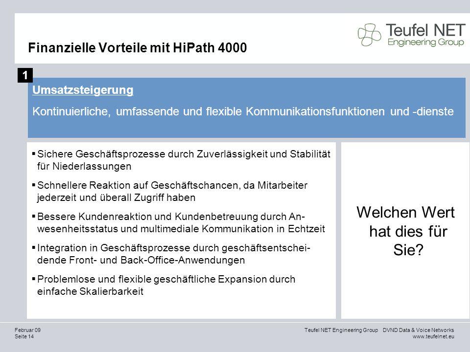 Seite 14 Teufel NET Engineering Group DVND Data & Voice Networks www.teufelnet.eu Februar 09 Finanzielle Vorteile mit HiPath 4000 Umsatzsteigerung Kon