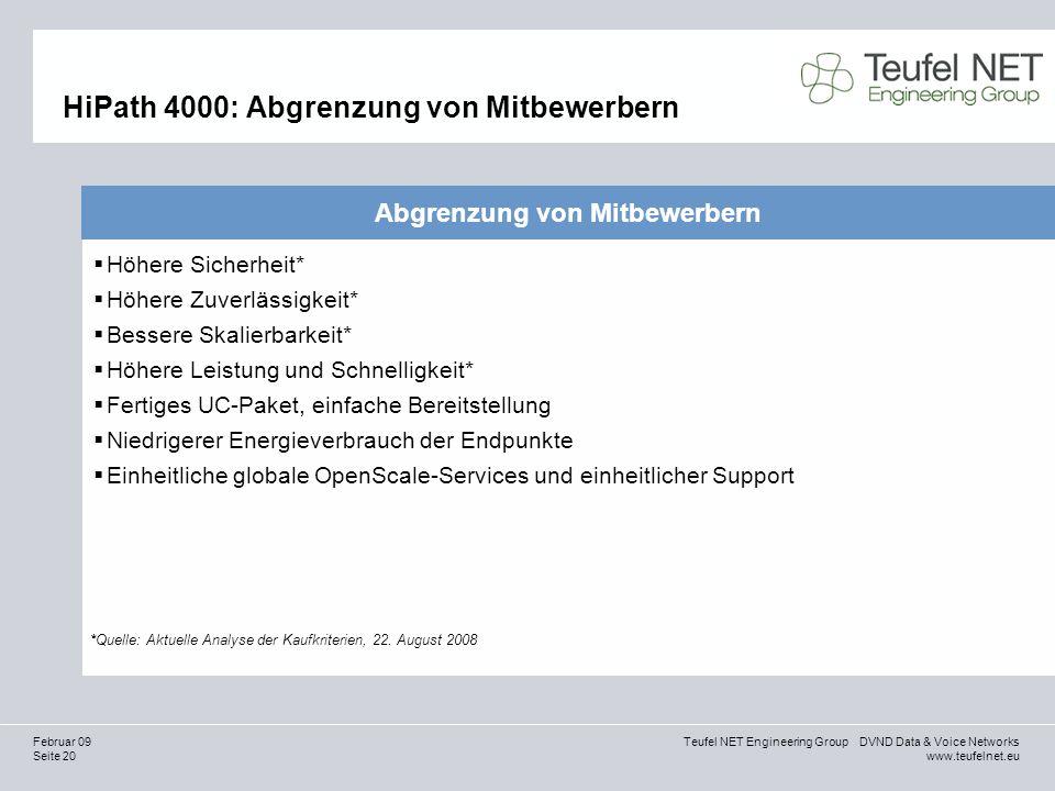 Seite 20 Teufel NET Engineering Group DVND Data & Voice Networks www.teufelnet.eu Februar 09 HiPath 4000: Abgrenzung von Mitbewerbern Abgrenzung von M