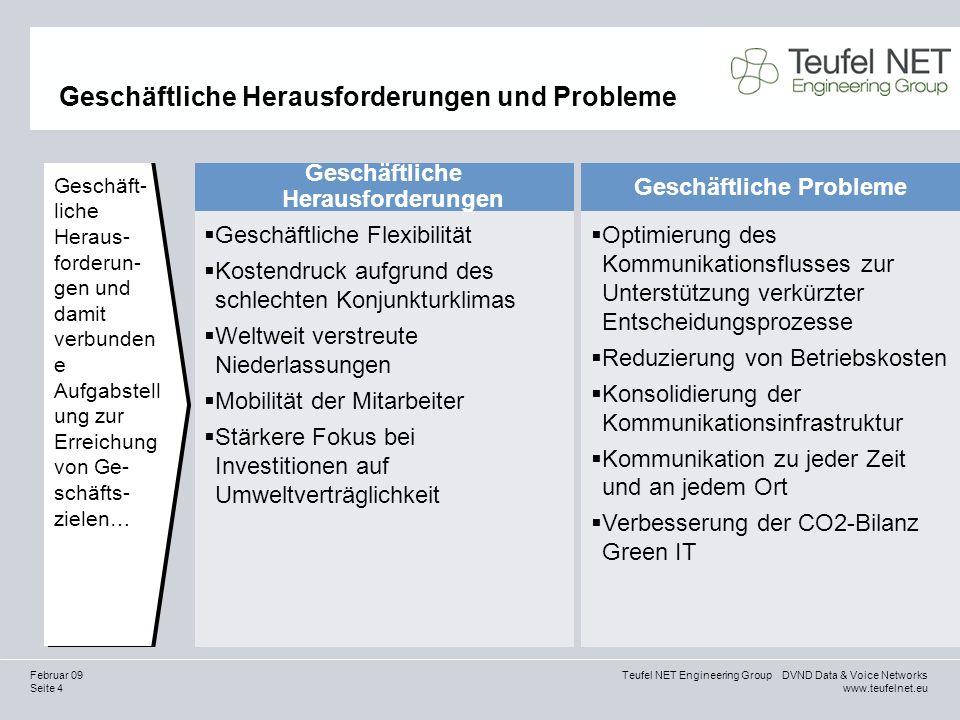 Seite 15 Teufel NET Engineering Group DVND Data & Voice Networks www.teufelnet.eu Februar 09 Finanzielle Vorteile mit HiPath 4000 Kostensenkung Auswahl an Kommunikationsfunktionen zur Verbesserung der Geschäftsprozesse und Reduzierung der Kosten Bessere CO2-Bilanz, weniger Stromverbrauch… … … Faktor 2 bis 3**** Kosteneinsparung beim Sprachdatenverkehr per IP-LCR… … … bis zu 30 %* Produktivitätssteigerung von mobilen und entfernten Mitarbeitern … … … 10 bis 30 %* Reduzierung der Kosten für Mobiltelefonie … … … bis zu 30 %** Integrierte Arbeitsplätze/flexible Standorte und Mietbüros … … … 5 bis 20 %*** Reduzierung der Kosten für die Zusammenarbeit durch Integration von Konferenzfunktionen in Geschäftsprozesse … … … 30 bis 70 %*** Forrester Consulting,Frost & Sullivan, Sonstige 2 *Quelle: Geschätzte Mittelwerte aus einer Studie von Forrester Consulting, 2005 / **Quelle: North American Voice over WLAN Market, 2005 Frost & Sullivan Report / ***Quelle: Berechnungen basieren auf Schätzungen der Geschäftsaktivität und Marktinformationen / ****Quelle: Studie von Dave Leach, Siemens Enterprise Communications, 2008 / *****Quelle: Studie von Dr.
