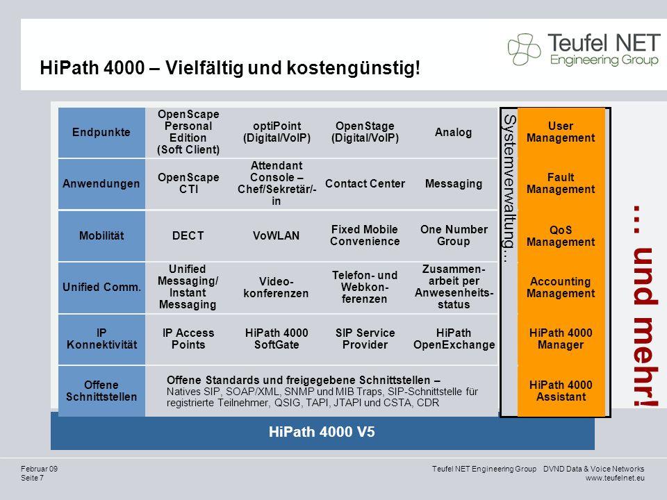 Seite 8 Teufel NET Engineering Group DVND Data & Voice Networks www.teufelnet.eu Februar 09 HiPath 4000 ist Teil der OpenScape UC-Familie Software- basis OpenSOA OpenScape Unified Communications Server SIP-Sitzungs- steuerung Verbund/ Anwesenheits- status Admin.