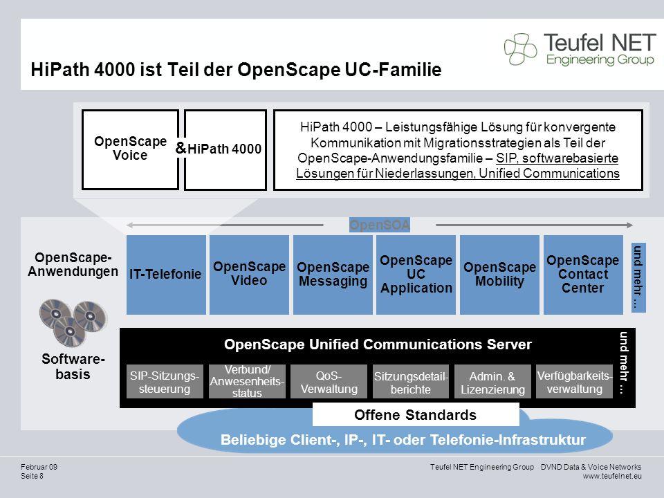 Seite 19 Teufel NET Engineering Group DVND Data & Voice Networks www.teufelnet.eu Februar 09 Agenda Geschäftsziele, Herausforderungen und Probleme Bereitstellen der Lösung Schaffen eines messbaren Mehrwerts Abgrenzung von Mitbewerbern und Akzeptanz in der Branche Stimmen von Kunden zu HiPath 4000