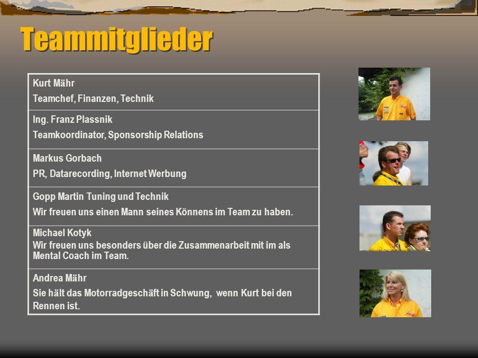 Teammitglieder Kurt M ä hr Teamchef, Finanzen, Technik Ing. Franz Plassnik Teamkoordinator, Sponsorship Relations Markus Gorbach PR, Datarecording, In