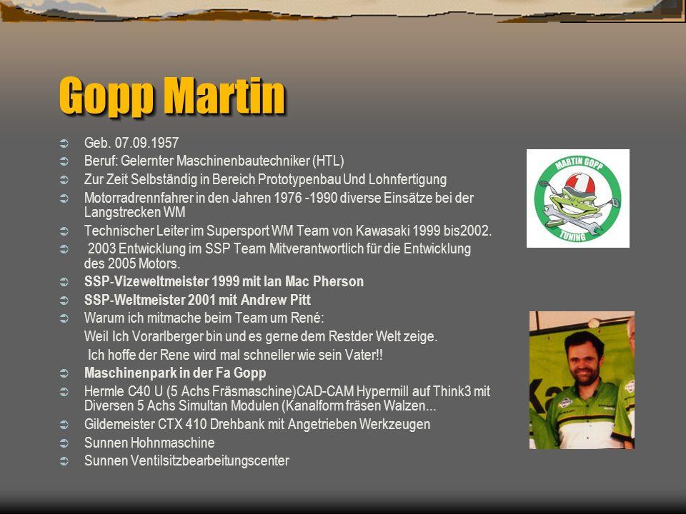 Gopp Martin Geb. 07.09.1957 Beruf: Gelernter Maschinenbautechniker (HTL) Zur Zeit Selbständig in Bereich Prototypenbau Und Lohnfertigung Motorradrennf