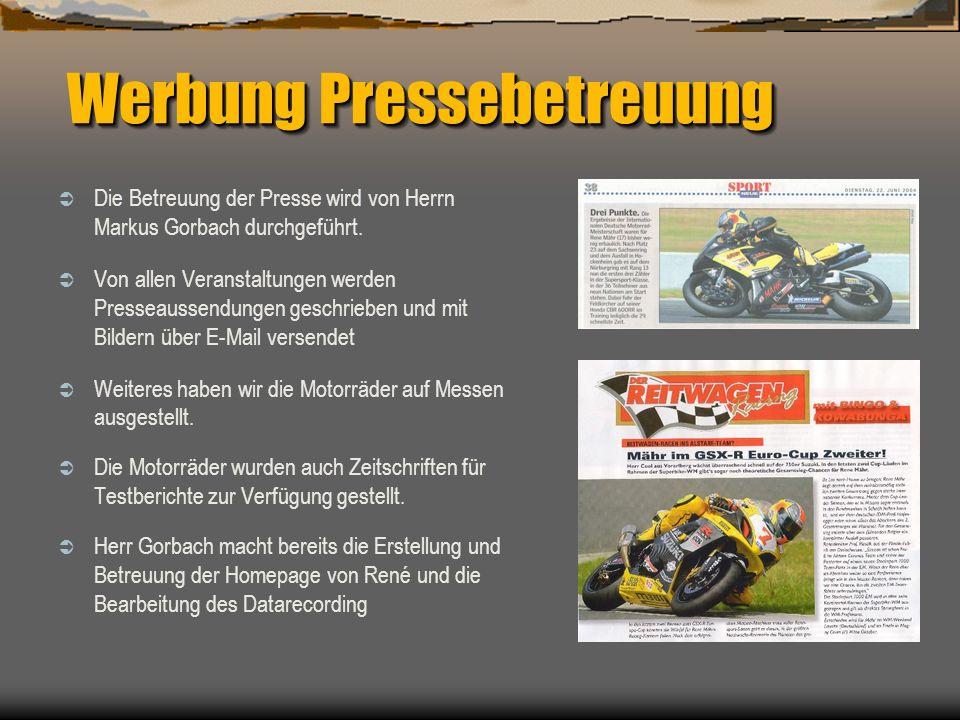 Werbung Pressebetreuung Die Betreuung der Presse wird von Herrn Markus Gorbach durchgeführt. Von allen Veranstaltungen werden Presseaussendungen gesch