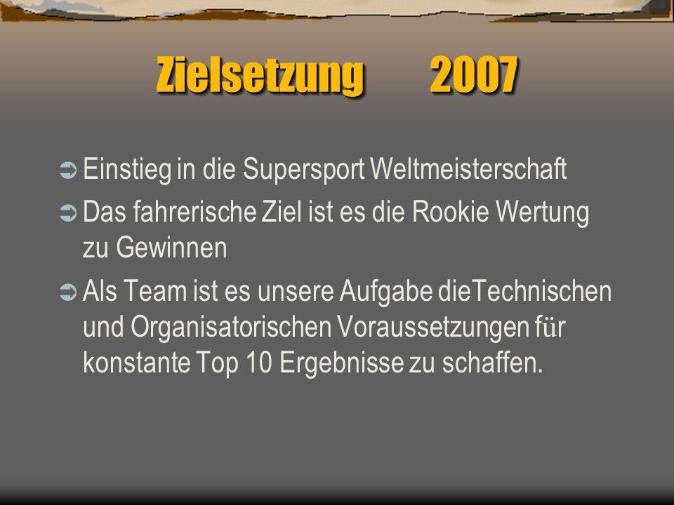 Zielsetzung 2007 Einstieg in die Supersport Weltmeisterschaft Das fahrerische Ziel ist es die Rookie Wertung zu Gewinnen Als Team ist es unsere Aufgabe dieTechnischen und Organisatorischen Voraussetzungen f ü r konstante Top 10 Ergebnisse zu schaffen.