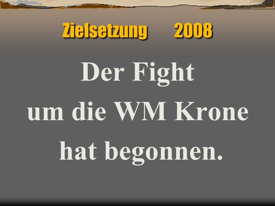 Zielsetzung 2008 Der Fight um die WM Krone hat begonnen.