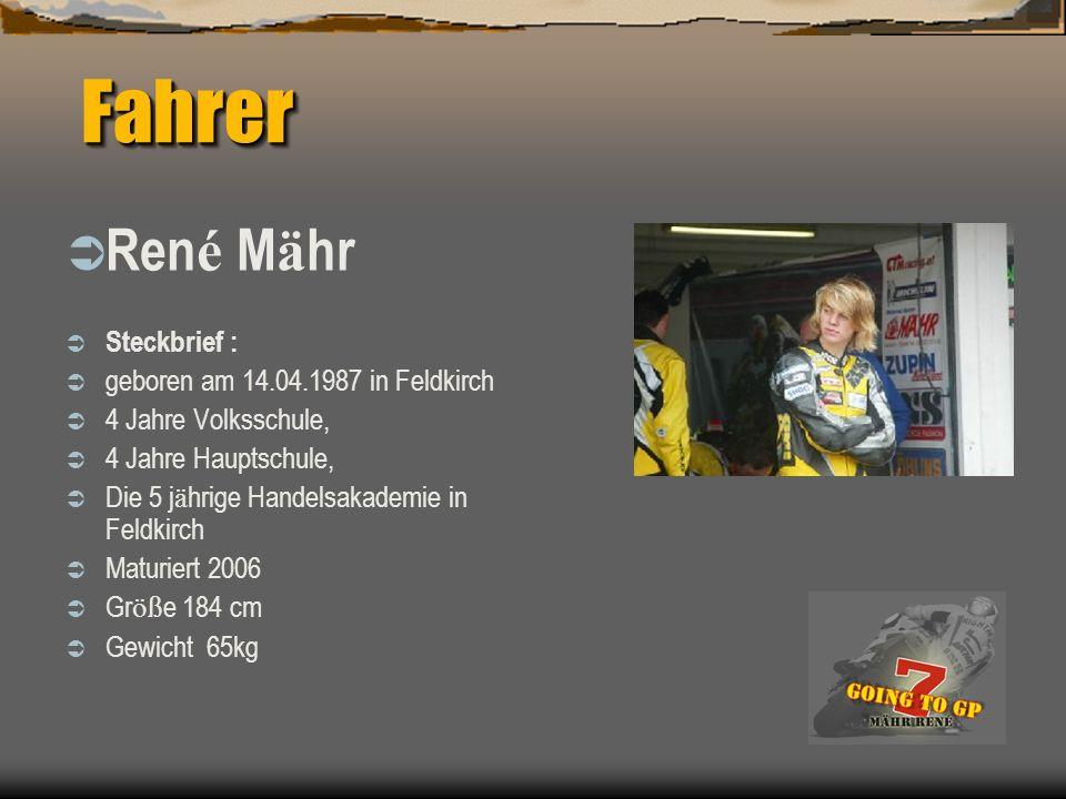 Fahrer Fahrer Ren é M ä hr Steckbrief : geboren am 14.04.1987 in Feldkirch 4 Jahre Volksschule, 4 Jahre Hauptschule, Die 5 j ä hrige Handelsakademie in Feldkirch Maturiert 2006 Gr öß e 184 cm Gewicht 65kg