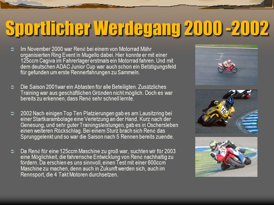 Sportlicher Werdegang 2000 -2002 Im November 2000 war Ren é bei einem von Motorrad M ä hr organisierten Ring Event in Mugello dabei. Hier konnte er mi