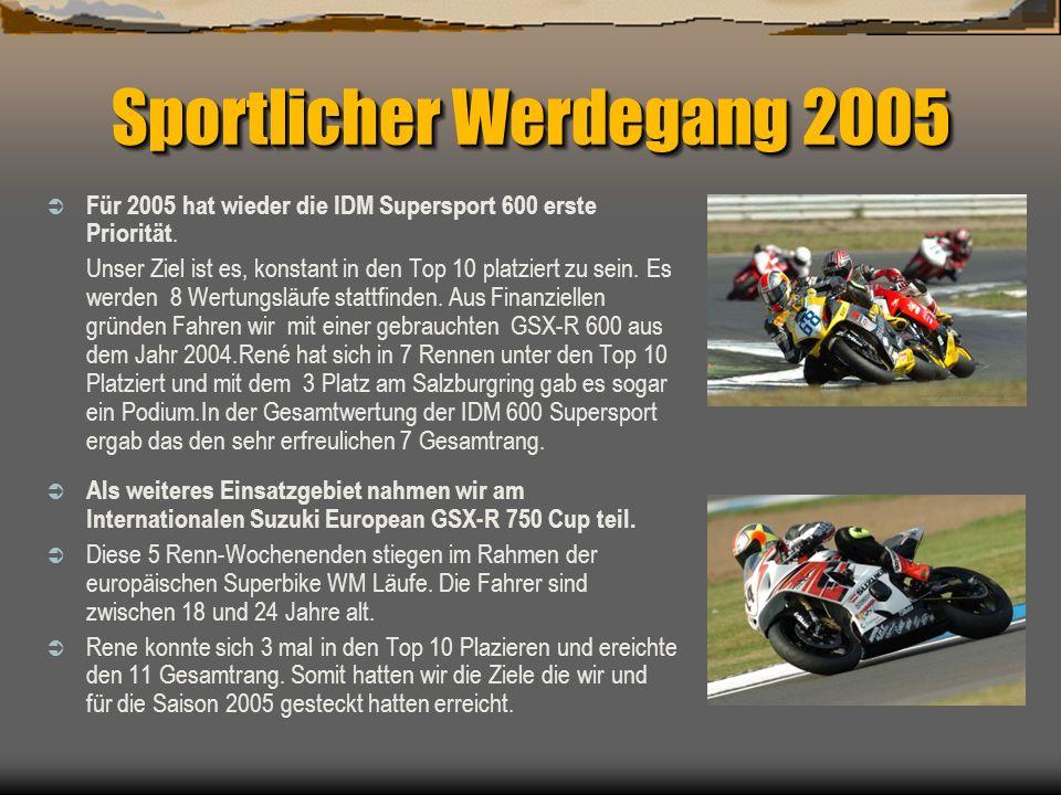 Sportlicher Werdegang 2005 Für 2005 hat wieder die IDM Supersport 600 erste Priorität. Unser Ziel ist es, konstant in den Top 10 platziert zu sein. Es