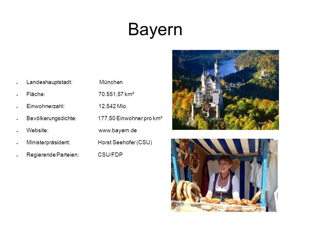 Bayern Landeshauptstadt: München Fläche: 70.551,57 km² Einwohnerzahl: 12,542 Mio. Bevölkerungsdichte:177,50 Einwohner pro km² Website: www.bayern.de M