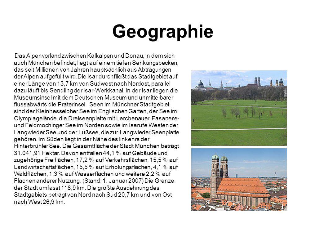Geographie Das Alpenvorland zwischen Kalkalpen und Donau, in dem sich auch München befindet, liegt auf einem tiefen Senkungsbecken, das seit Millionen