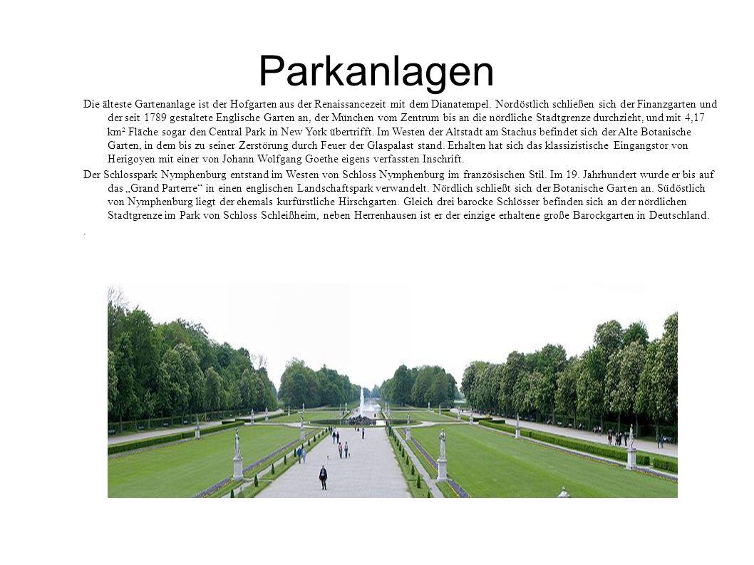 Parkanlagen Die älteste Gartenanlage ist der Hofgarten aus der Renaissancezeit mit dem Dianatempel. Nordöstlich schließen sich der Finanzgarten und de