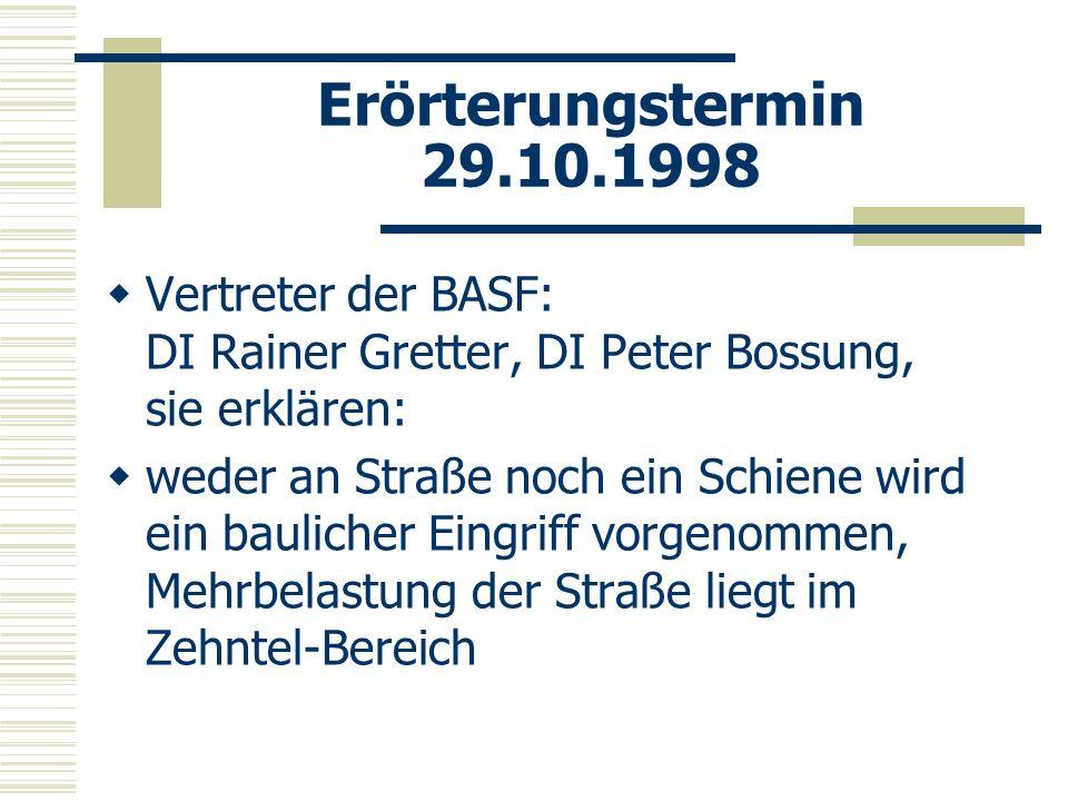 Erörterungstermin 29.10.1998 Vertreter der BASF: DI Rainer Gretter, DI Peter Bossung, sie erklären: weder an Straße noch ein Schiene wird ein bauliche