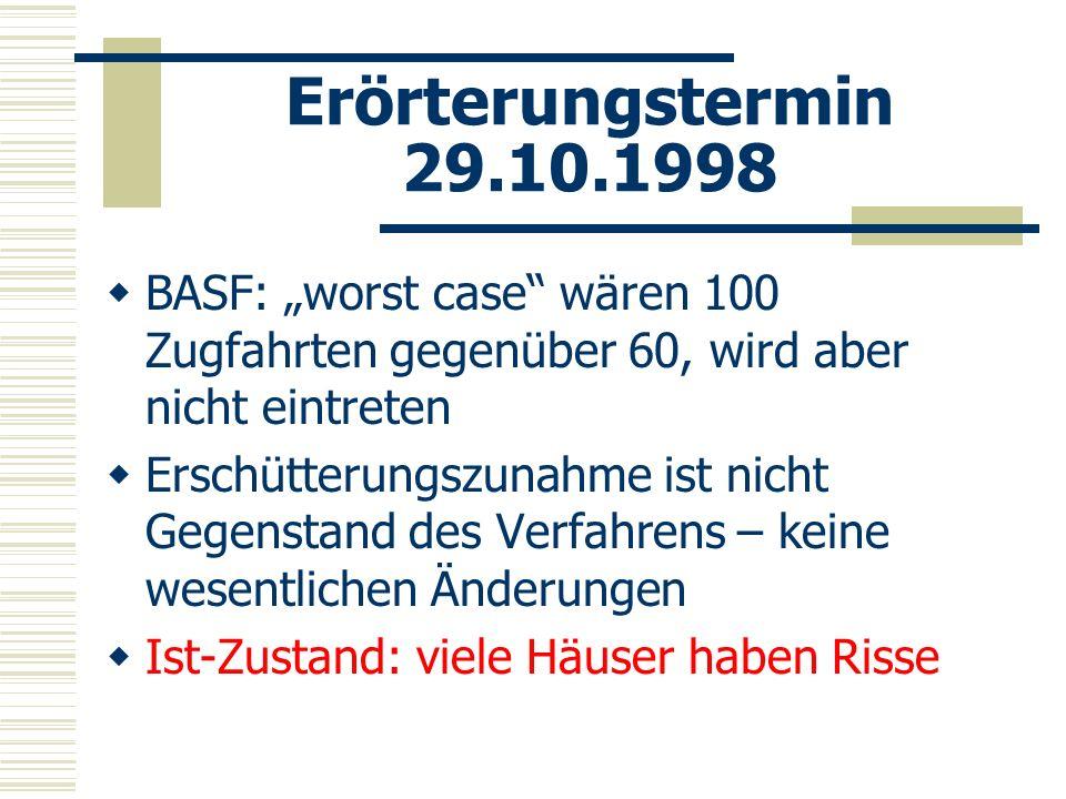 Erörterungstermin 29.10.1998 BASF: worst case wären 100 Zugfahrten gegenüber 60, wird aber nicht eintreten Erschütterungszunahme ist nicht Gegenstand