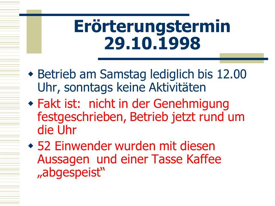 Erörterungstermin 29.10.1998 Betrieb am Samstag lediglich bis 12.00 Uhr, sonntags keine Aktivitäten Fakt ist: nicht in der Genehmigung festgeschrieben
