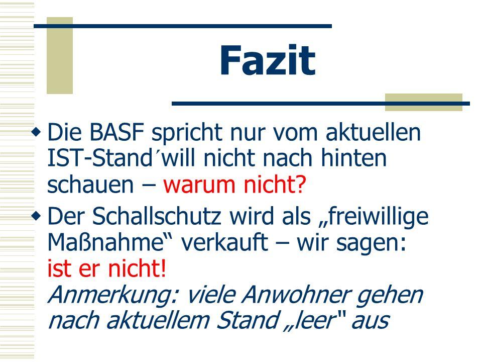 Fazit Die BASF spricht nur vom aktuellen IST-Stand´will nicht nach hinten schauen – warum nicht? Der Schallschutz wird als freiwillige Maßnahme verkau
