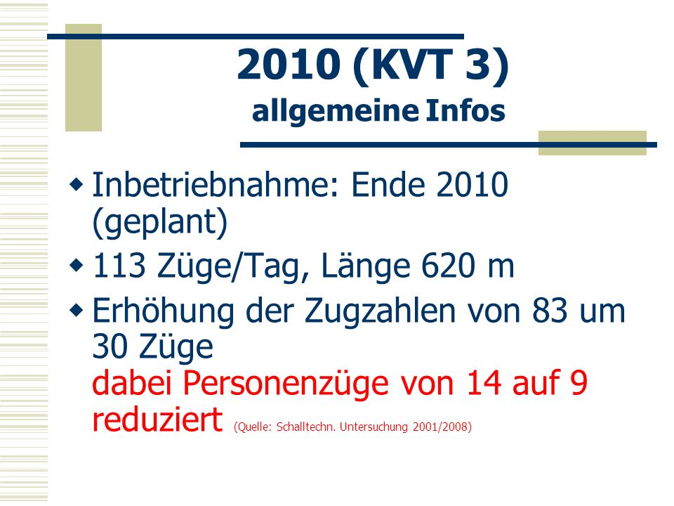 2010 (KVT 3) allgemeine Infos Inbetriebnahme: Ende 2010 (geplant) 113 Züge/Tag, Länge 620 m Erhöhung der Zugzahlen von 83 um 30 Züge dabei Personenzüg