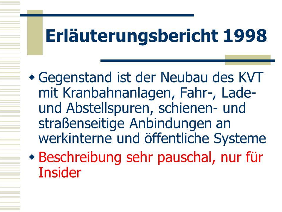 Erläuterungsbericht 1998 Gegenstand ist der Neubau des KVT mit Kranbahnanlagen, Fahr-, Lade- und Abstellspuren, schienen- und straßenseitige Anbindung