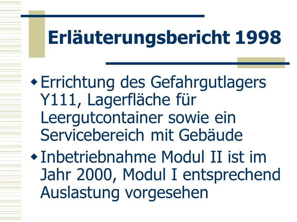 Erläuterungsbericht 1998 Errichtung des Gefahrgutlagers Y111, Lagerfläche für Leergutcontainer sowie ein Servicebereich mit Gebäude Inbetriebnahme Mod