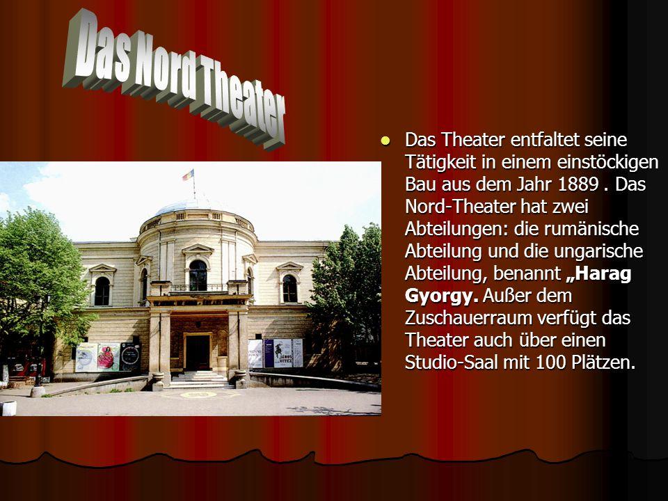 Das Theater entfaltet seine Tätigkeit in einem einstöckigen Bau aus dem Jahr 1889. Das Nord-Theater hat zwei Abteilungen: die rumänische Abteilung und