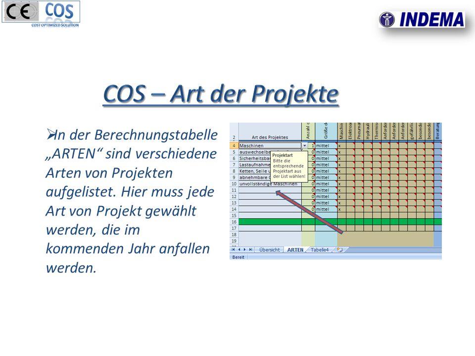 In der Berechnungstabelle ARTEN sind verschiedene Arten von Projekten aufgelistet.
