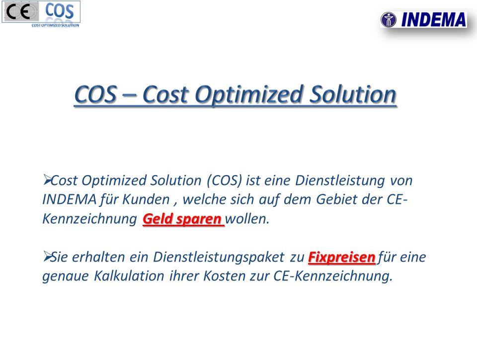 Geld sparen Cost Optimized Solution (COS) ist eine Dienstleistung von INDEMA für Kunden, welche sich auf dem Gebiet der CE- Kennzeichnung Geld sparen wollen.